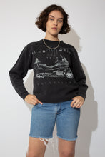 Load image into Gallery viewer, Black sweater with a large grey/silver print of a motorcycle on the front and Gold Wing 20 year anniversary printed across.