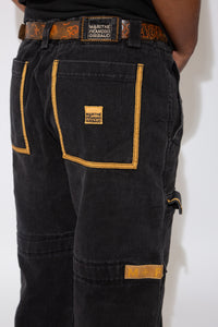 M+FG Jeans in a black and brown colour-way. 90s vintage. magichollow.