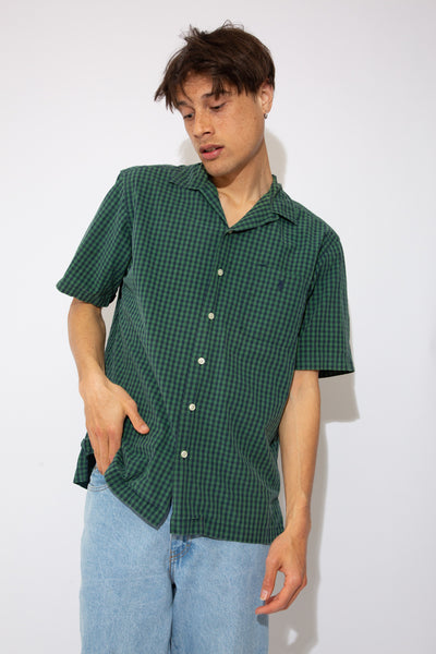 green and navy check button up with embroidered ralph emblem on left chest
