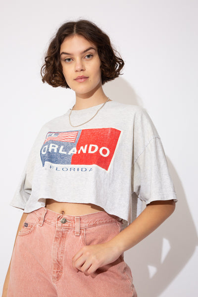 Grey cropped tee with a red, blue and white US flag style print. Orlando, Florida printed across the front.
