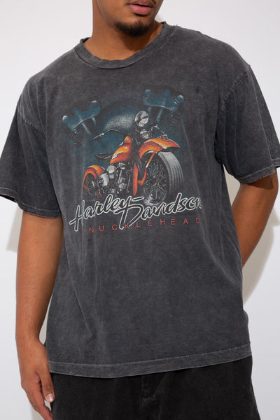 faded black/dark grey tee with harley graphic and spell-out across front and back