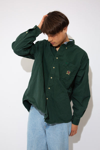 oversized green button up with embroidered tommy crest on left chest pocket