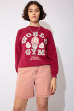 Load image into Gallery viewer, Oversized, maroon red sweater with 'World Gym' printed in grey and a print of a gorilla lifting weights on the front. Repping Walzem San Antonio, Texas. Print reversed on back.