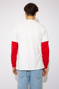 off white tee with front and back racing graphic