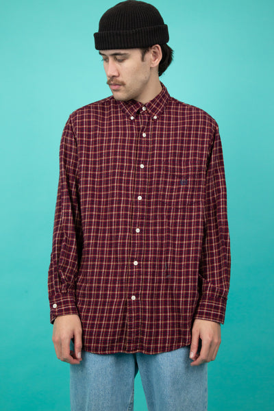 vintage maroon tartan button up long sleeve - magichollow