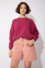 Load image into Gallery viewer, Maroon sweater with 'Lee' outlined and embroidered into the material across the chest. Ribbed neckline, waistline and sleeves add to baggy fit!