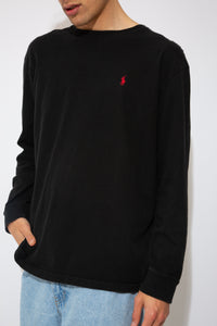 faded black longsleeve with red embroidered ralph emblem on left chest