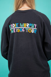 faded black vintage sweater from eddie murphy 1986 tour - magichollow