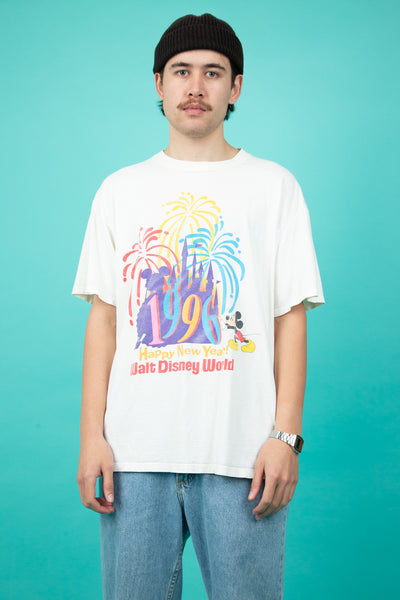 off-white tee with colourful 1996 new years disneyland graphic