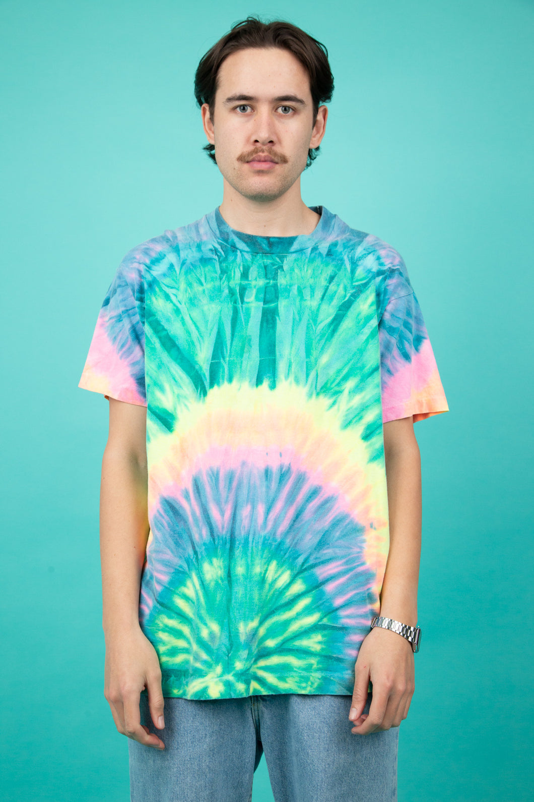 vintage tie-dye tee in a multi coloured colour-way.
