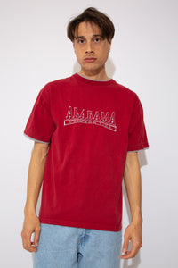 dark red tee with grey neckline and sleeve detailing and embroidered spell-out across chest