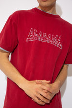 Load image into Gallery viewer, dark red tee with grey neckline and sleeve detailing and embroidered spell-out across chest