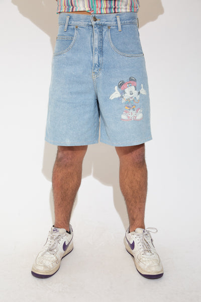 mickey denim shorts. 90x vintage. magichollow.