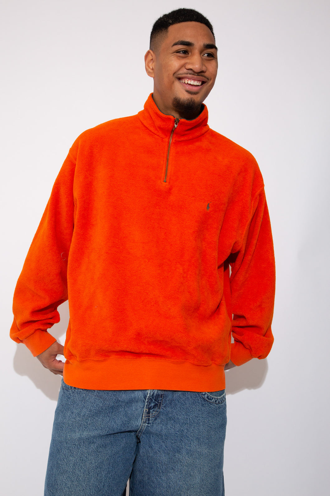 orange fleece quarterzip with ralph lauren embroidered logo on left chest - vintage - magichollow
