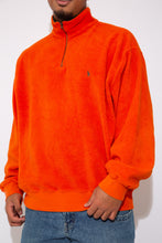 Load image into Gallery viewer, orange fleece quarterzip with ralph lauren embroidered logo on left chest - vintage - magichollow