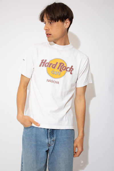 white fitted tee with iconic hard rock cafe logo graphic on front