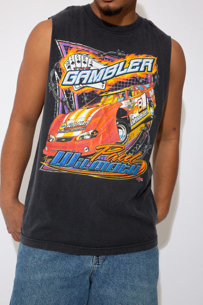 racing muscle tee in a black colour-way. 90s vintage. magichollow.