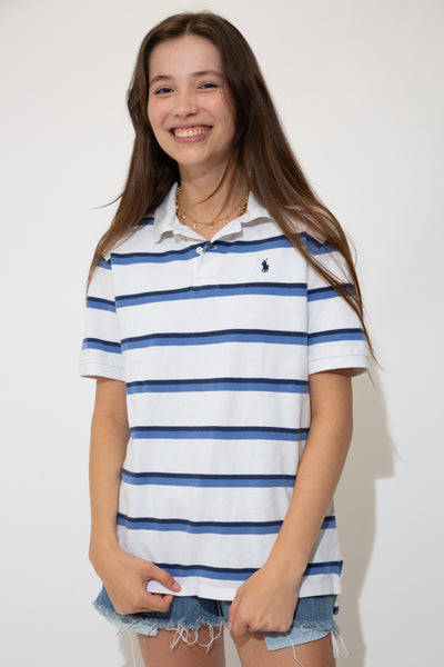 White in colour with thin horizontal blue stripes across the tee, a white collar, white shell-like buttons and a dark blue embroidered Ralph Lauren logo on the left chest.