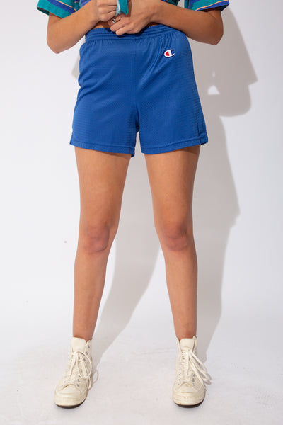 blue champion short-shorts with tiny champion logo on the left top