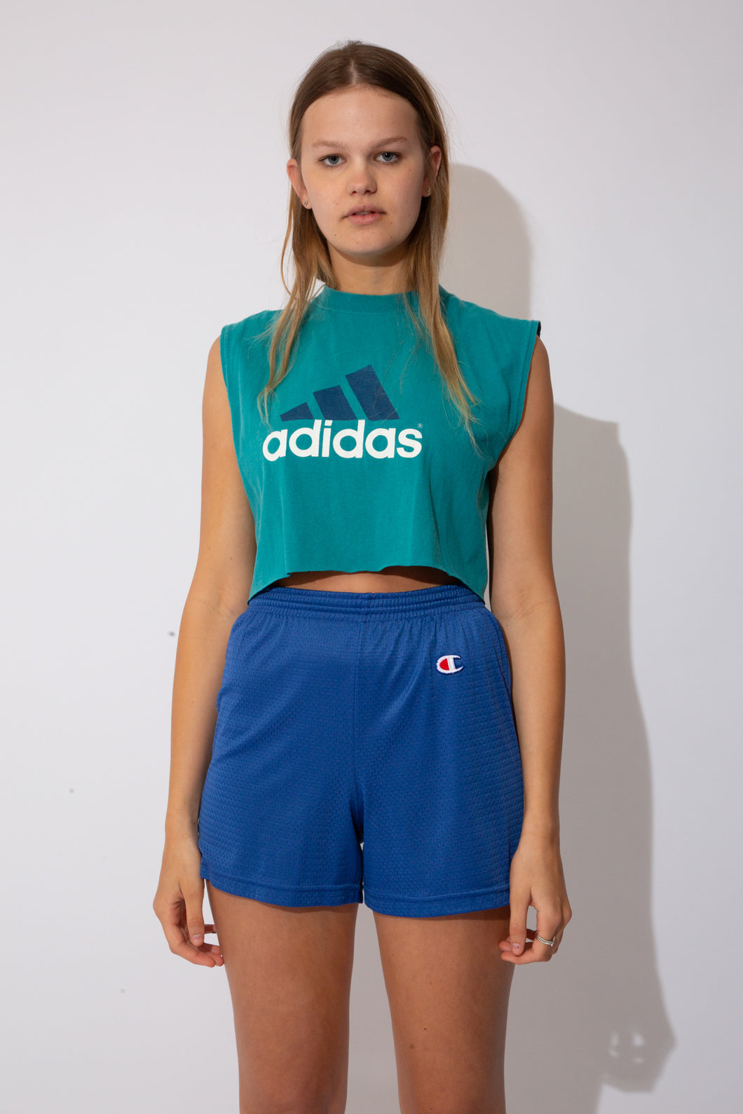 Adidas cropped singlet in teal