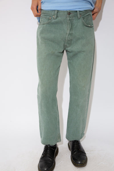 faded green straight-cut levi's 501 jeans