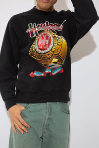 black sweater with large front graphic of the '94 cornhuskers championship ring. magichollow