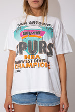 Load image into Gallery viewer, white tee with san antonio spurs graphic on the front