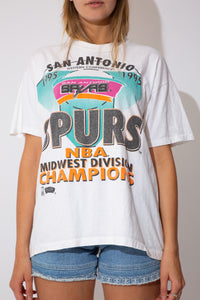 white tee with san antonio spurs graphic on the front