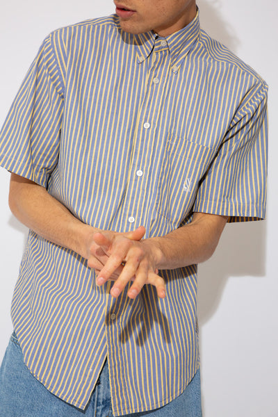 summery blue and yellow striped short-sleeve button up with nautica embroidered logo on left chest pocket