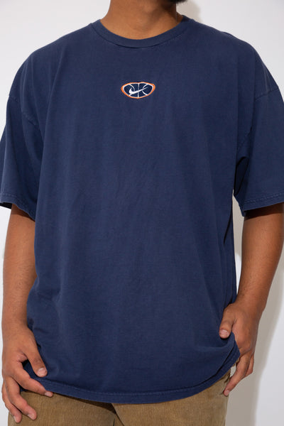Plain Navy-blue tee with small nike logo on the front middle. magichollow
