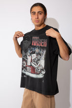 Load image into Gallery viewer, black oversized tee with ice hockey graphic featuring buffalo sabres goalie dominik hasek