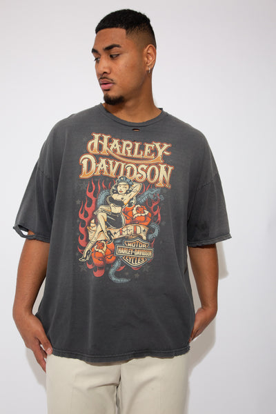 grey harley davidson tee, very distressed. front and back graphics. magichollow