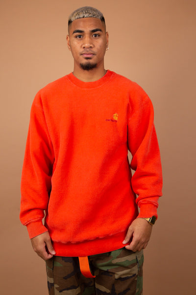 Carhartt embroidered sweater in a orange colour-way. 90s vintage. shop  now. magichollow