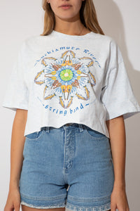 white and blue marl crop with graphic on front.