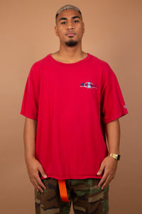Vintage champion tee in a red colour-way.
