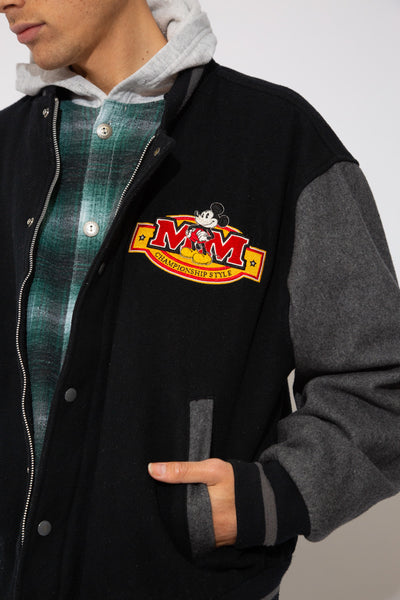 Black and Grey bomber jacket with mickey mouse embroidery on front left, right arm and back. magichollow