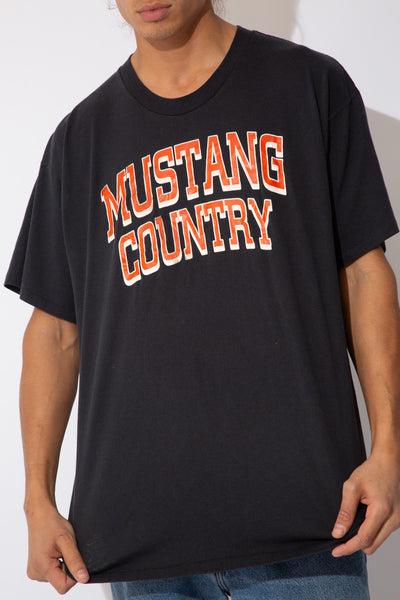faded black tee with 'mustang country' spell-out across chest