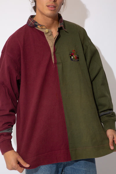 green and maroon panelled rugby with embroidered tommy crest on left chest and plaid collar detailing