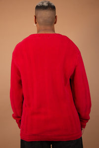 Red Knitted sweater with tiny chaps logo on the front left side of the chest. magichollow vintage