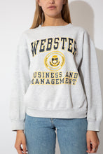 Load image into Gallery viewer, grey marl sweater with navy and yellow webster university graphic on the front