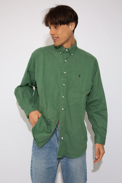 faded green button-up with embroidered ralph lauren emblem on left chest
