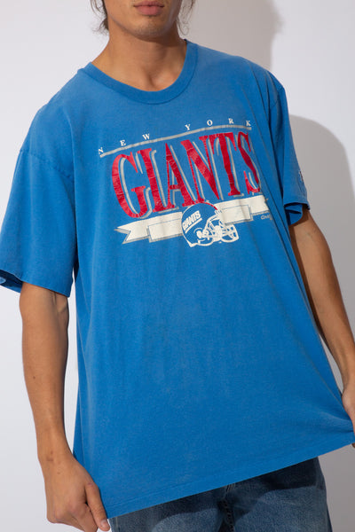 faded blue tee with ny giants spell-out across chest