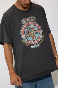 faded black harley-look tee with front and back biker graphic in faded colourful tone