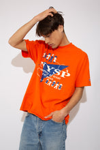 "Load image into Gallery viewer, Single-Stitch Orange Champion tee with the text ""NYSP University of Texas at El Paso"" on the front. vintage clothing at magichollow."
