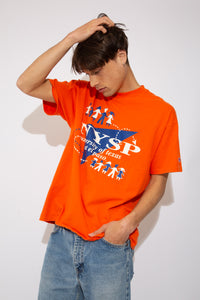 "Single-Stitch Orange Champion tee with the text ""NYSP University of Texas at El Paso"" on the front. vintage clothing at magichollow."