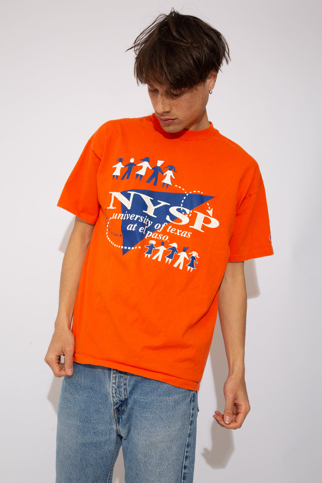 Single-Stitch Orange Champion tee with the text