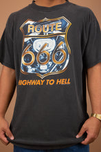 Load image into Gallery viewer, Faded black tee with Route 666, highway to hell graphic on the front. vintage magichollow