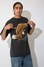 Load image into Gallery viewer, faded black tee with large eagle graphic
