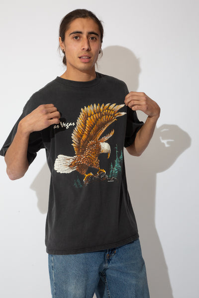 faded black tee with large eagle graphic