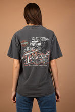 Load image into Gallery viewer, This faded black/grey tee has a motorcycle engine print on the front, the HD logo and 'size does matter' printed in red. On the back, there is a print of a bulldog with the HD logo and 'Indywest' printed across.